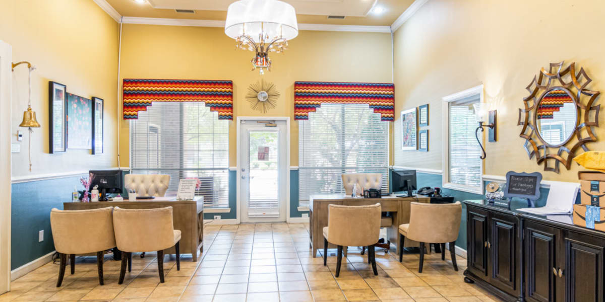 Inside of leasing office at Marquis of Carmel Valley in Charlotte, North Carolina
