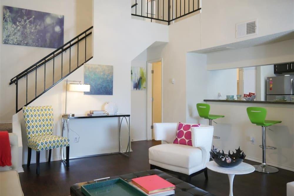 Spacious living room at The Park at Ashford in Arlington, Texas
