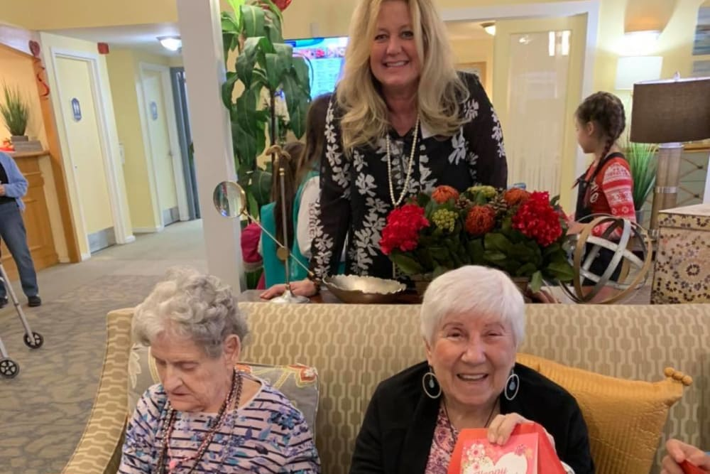 Residents with valentines at The Country House in Westchester in Yorktown Heights, New York