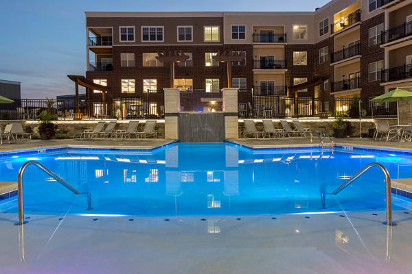 Swimming pool at night at Allure Apartments in Centerville, Ohio