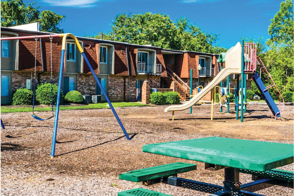 A playground with a slide at Post Ridge Apartments in Nashville, Tennessee.