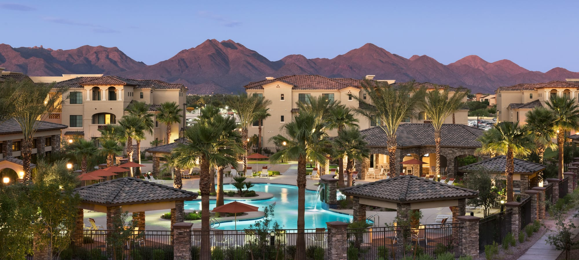 View of our beautiful community with mountains in the background at San Milan in Phoenix, Arizona
