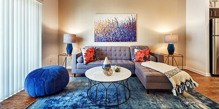 Spacious living room at The Kane at Gray's Landing