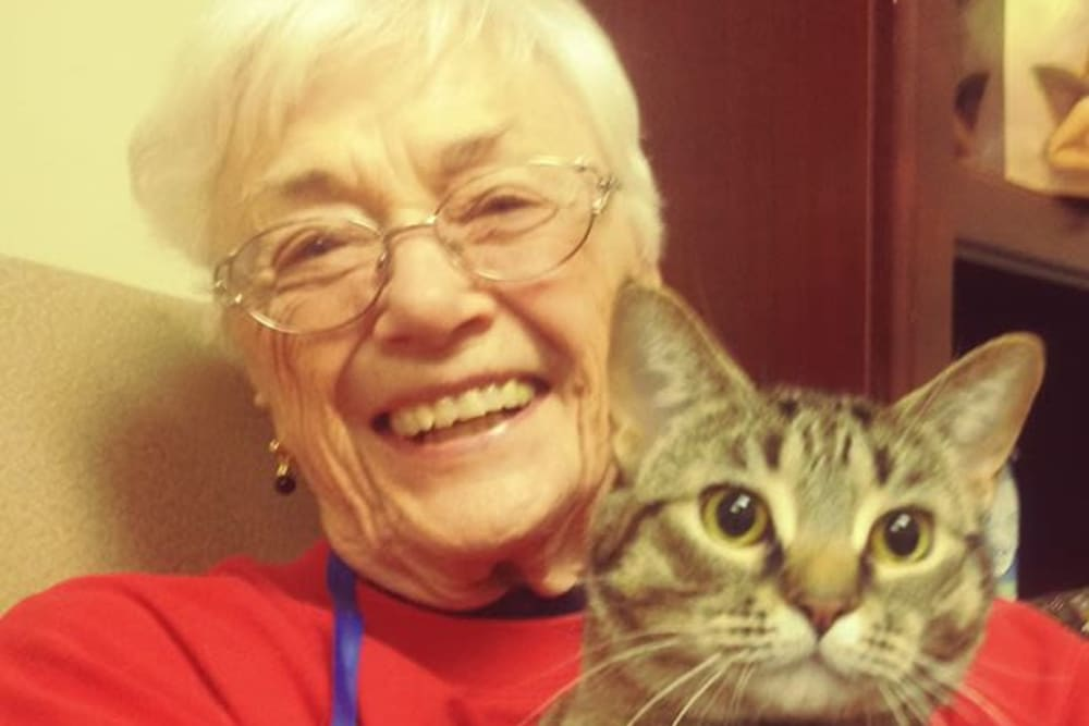 A resident and her cat at Brentwood at Elkhart in Elkhart, Indiana