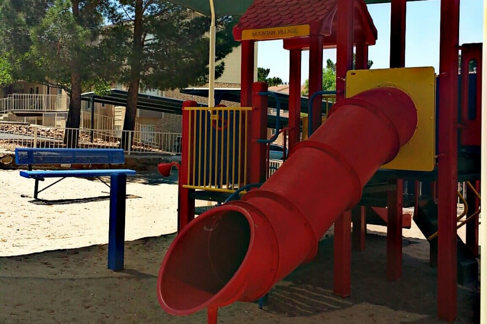 Outdoor playground at Mountain Village in El Paso, Texas