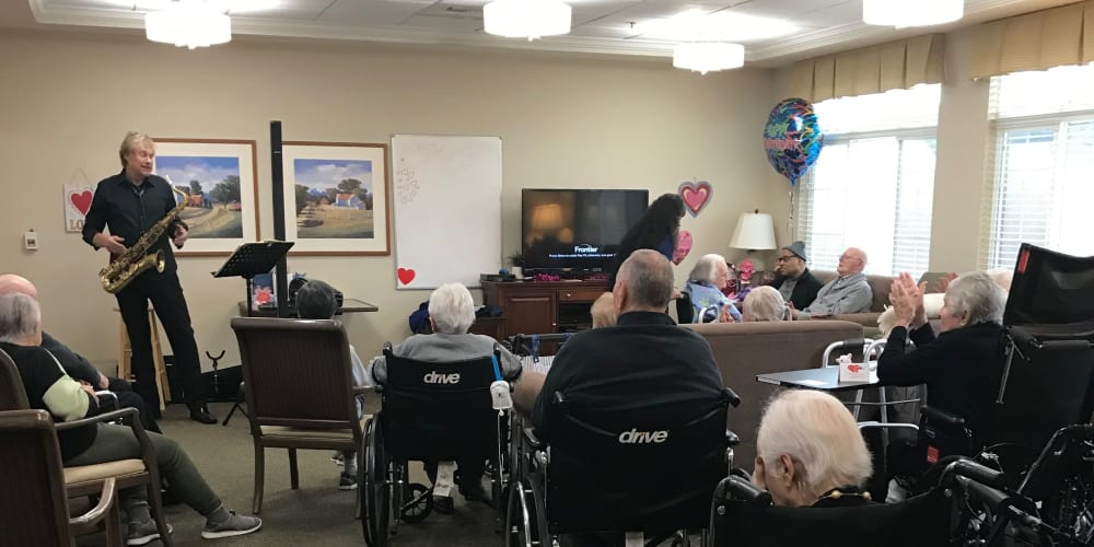 Residents listening to live music at The Lakes at Banning in Banning, California.