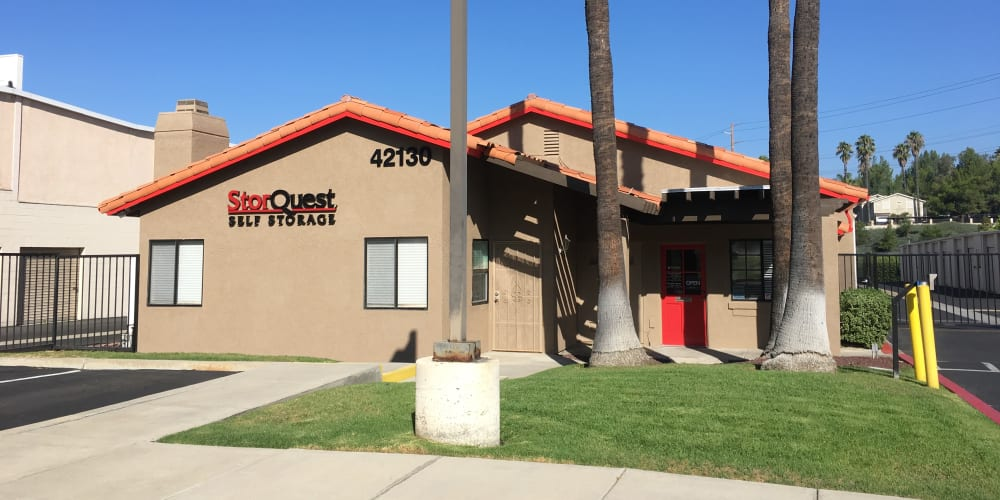 Exterior of the main entrance at StorQuest Self Storage in Temecula, California