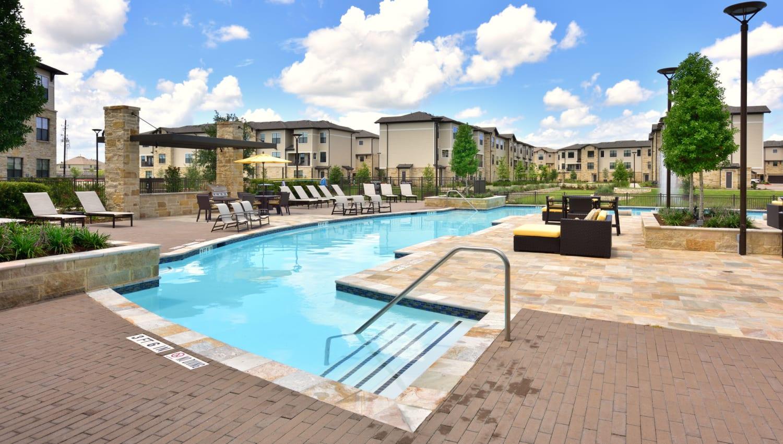 Resort-inspired pool at Olympus Falcon Landing in Katy, Texas