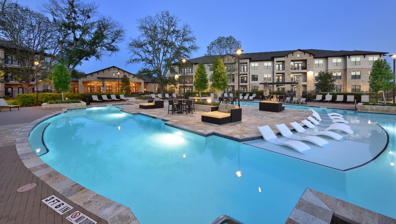 Resort-style pool at Olympus Falcon Landing in Katy, Texas