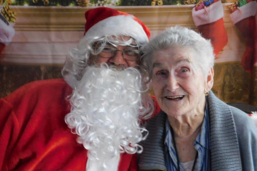 A resident and Santa Claus at Bradenton Oaks in Bradenton, Florida