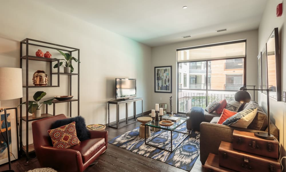 Luxury living room at Eastside Bond Apartments in Pittsburgh, PA