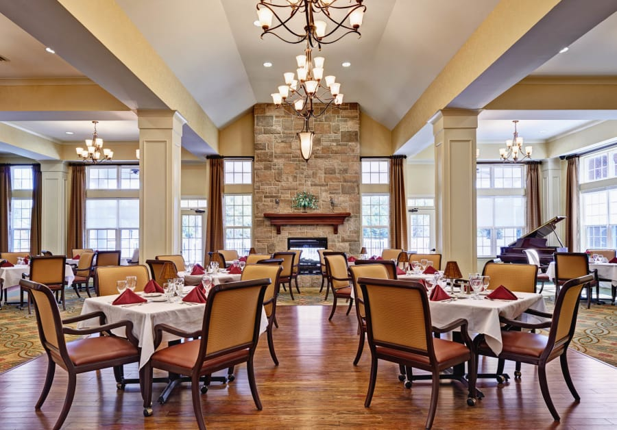 Dining room at Waltonwood Providence in Charlotte, NC.