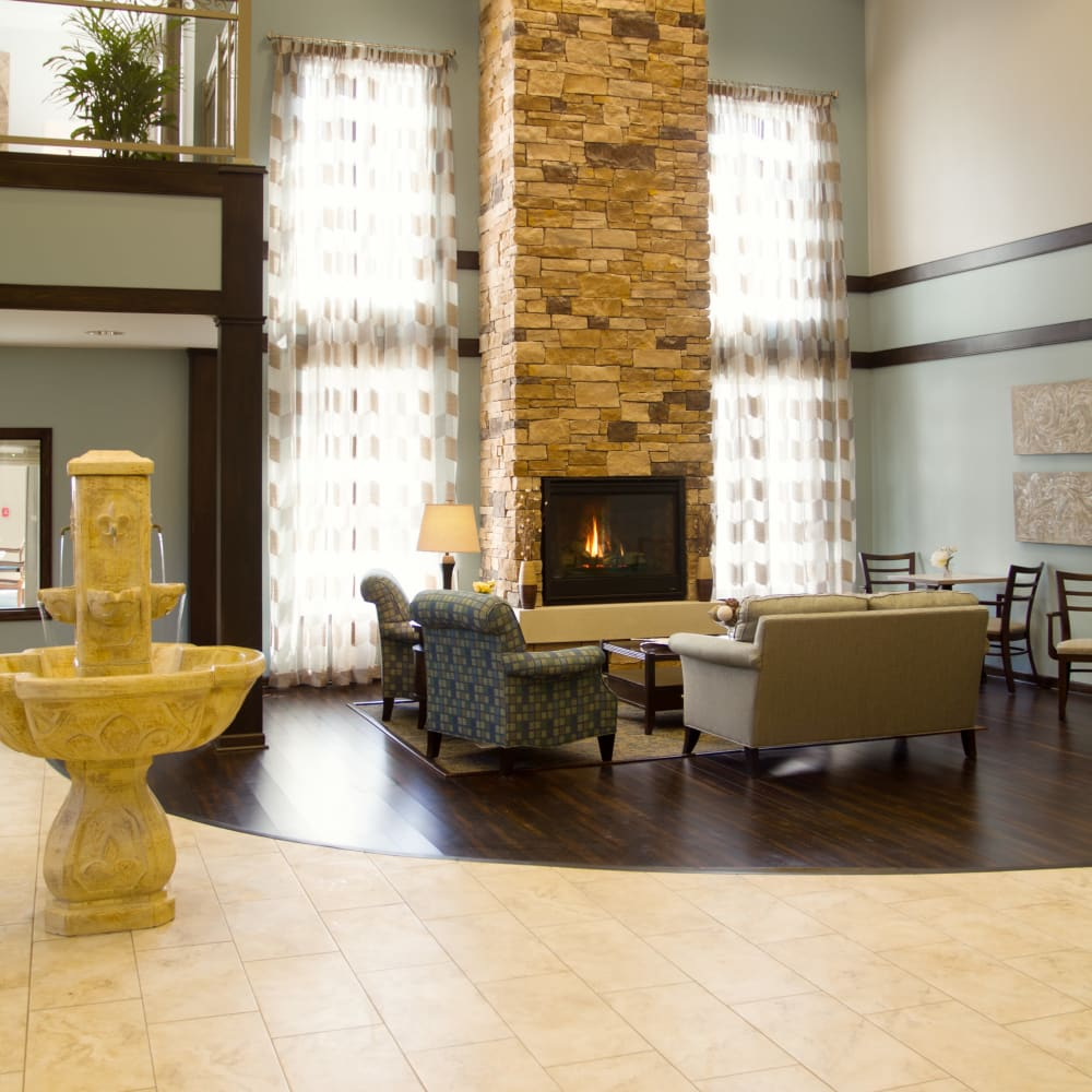 Decorated reception area at Governor's Village in Mayfield Village, Ohio