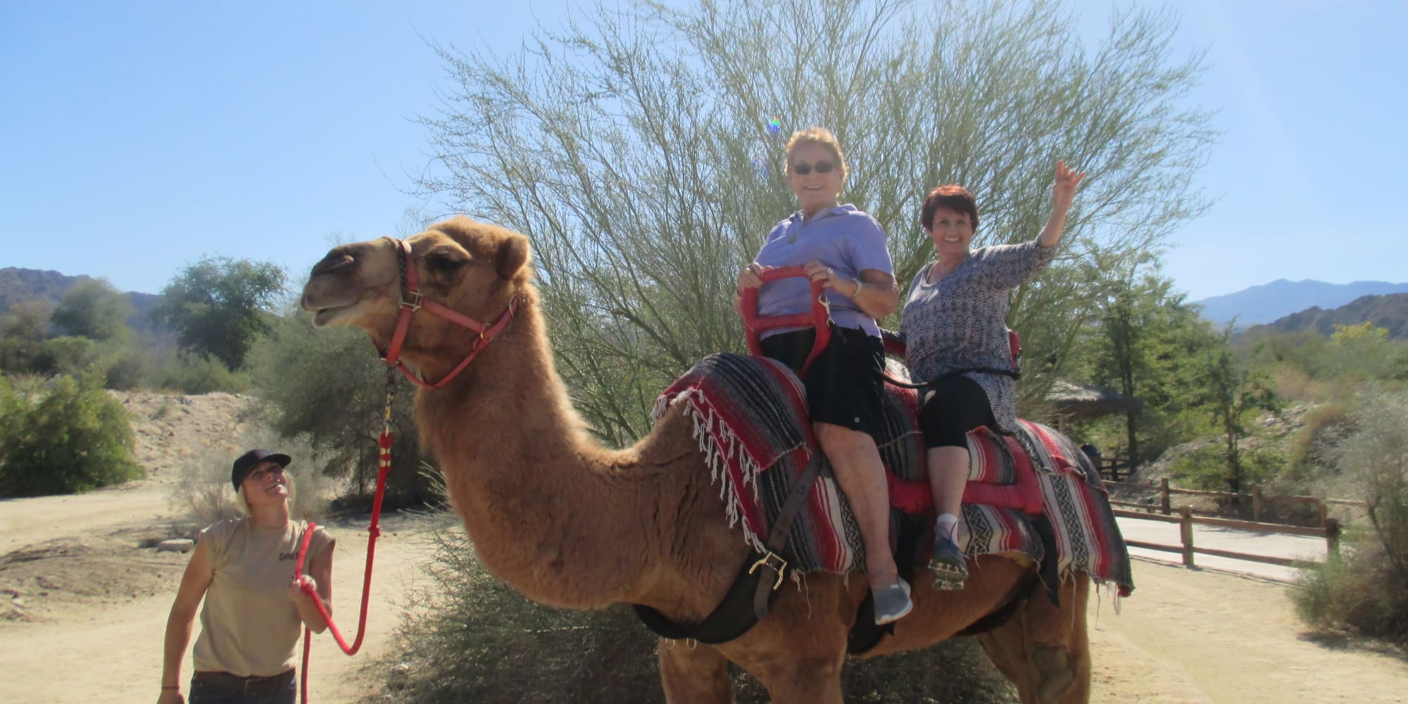 Residents from The Palms at La Quinta Assisted Living and Memory Care in La Quinta, California riding a camel