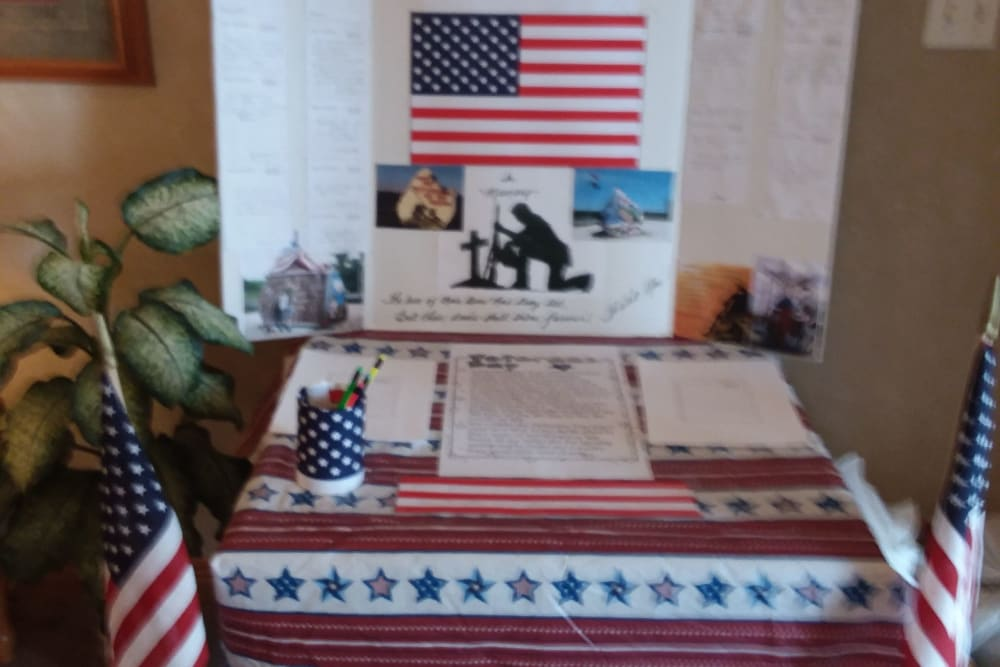 Veteran's Day celebration display at Arlington Place of Red Oak in Red Oak, Iowa