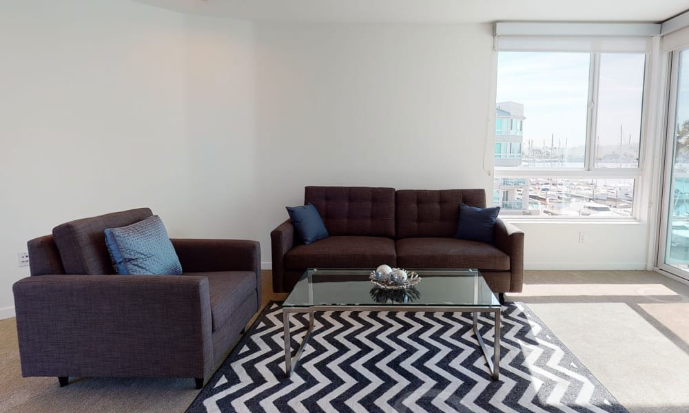 One bedroom home's well-furnished living area at Esprit Marina del Rey in Marina Del Rey, California
