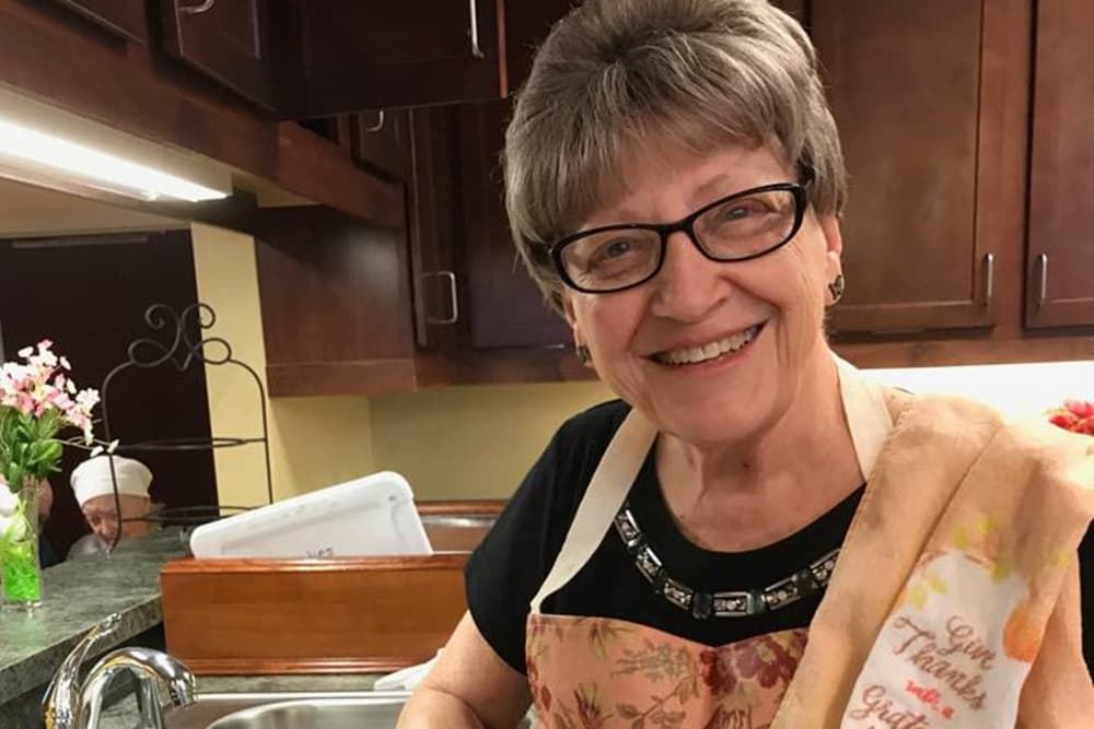 A resident cooking at Bethany Pointe Health Campus in Anderson, Indiana