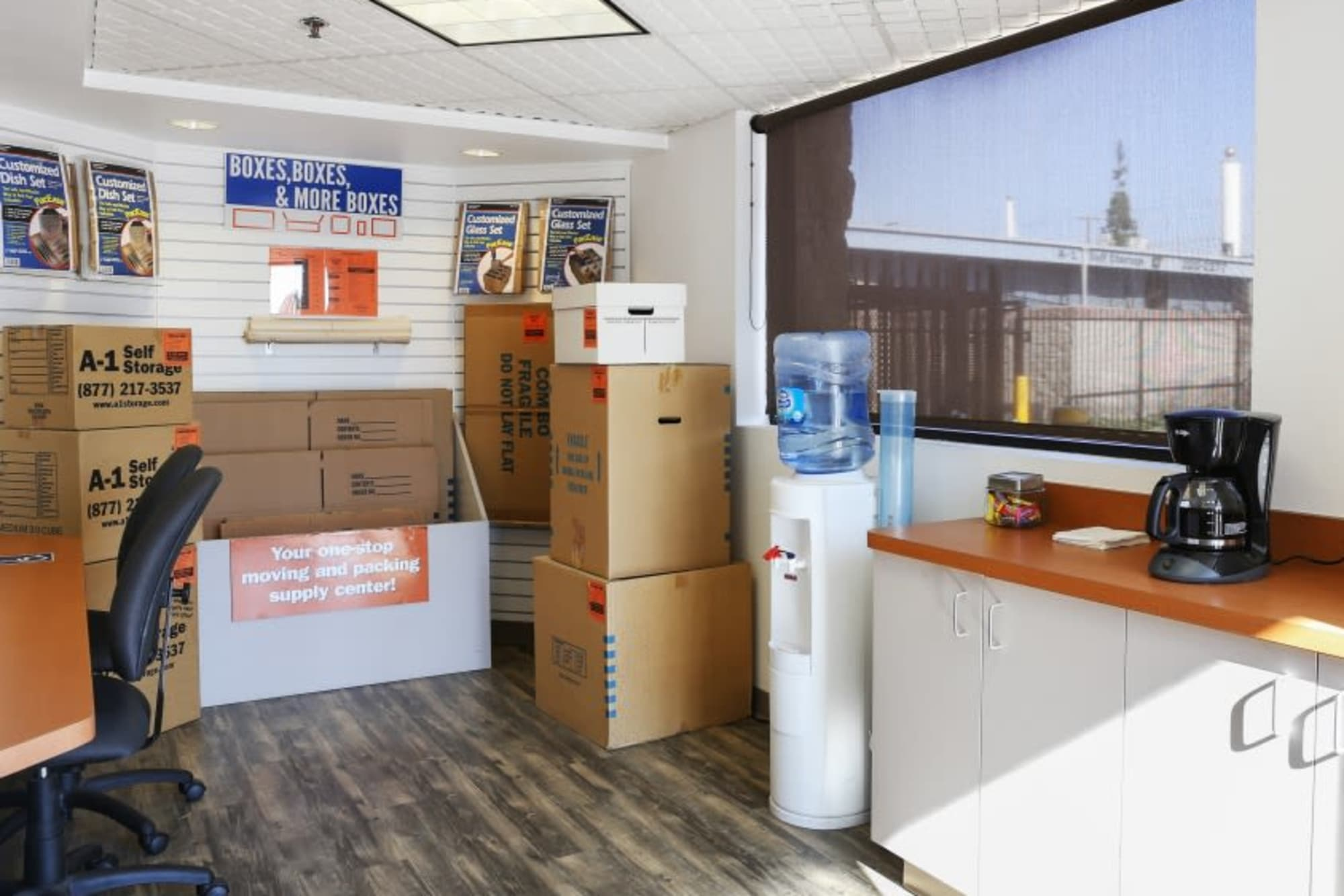 Inside the office at A-1 Self Storage in Anaheim, California