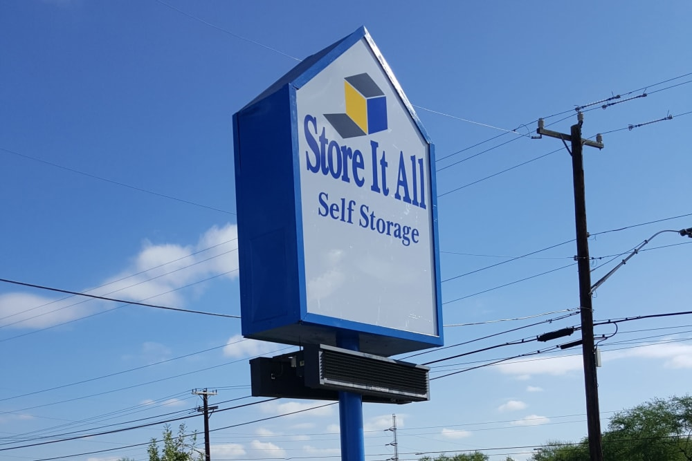 The sign in front of Store It All Self Storage - McMullen in San Antonio, Texas