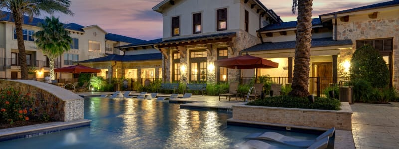 The pool at dusk at Arrabella in Houston, Texas