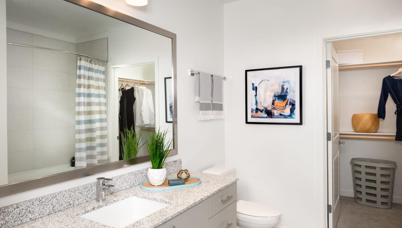 Model bathroom at Olympus on Broadway in Carrollton, TX