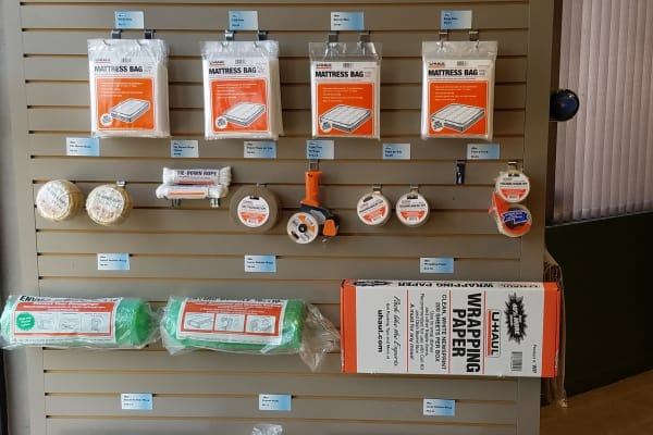 A variety of supplies are available for purchase at One Stop Storage.