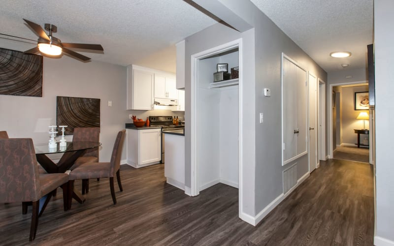Dining room with hardwood-style floors at Avery Park Apartments in Fairfield, California