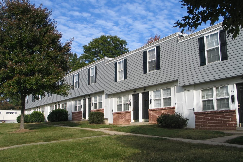 Enjoy the beautiful front view of Highland Village apartments
