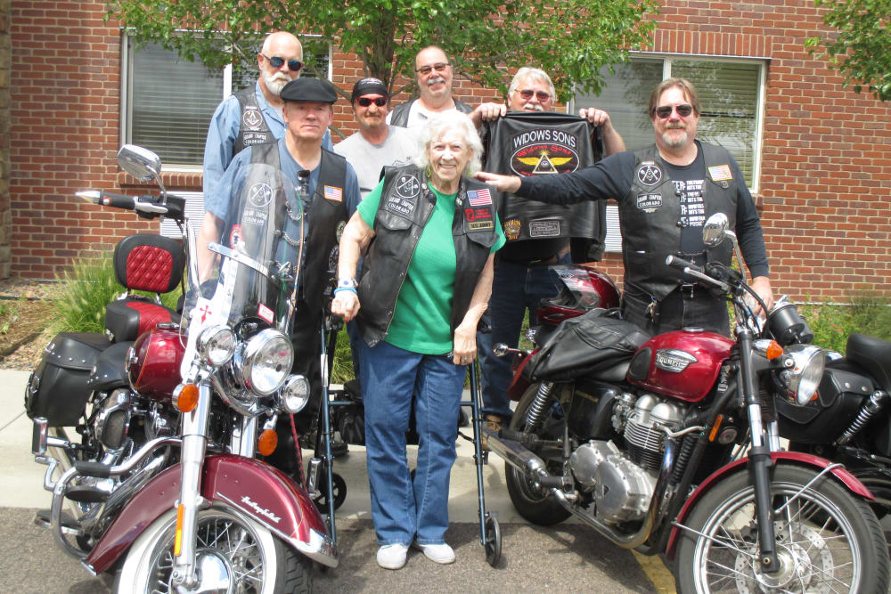 Motorcycle group at Eastern Star Masonic Retirement Campus in Denver, CO