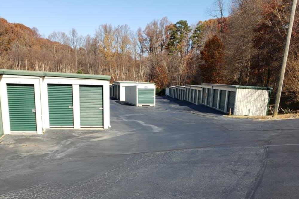 Outside units at AAA Self Storage at Pleasant Ridge Rd in Greensboro, North Carolina.