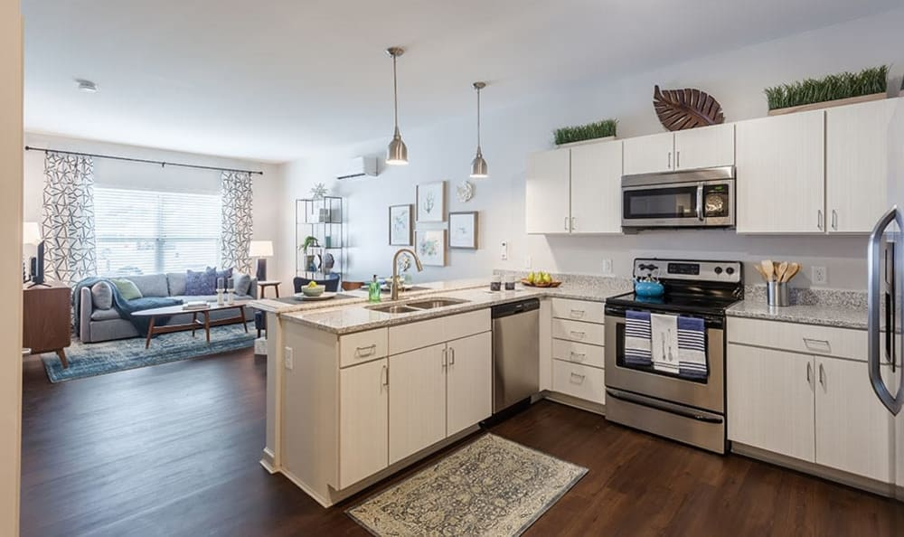 Modern kitchen at Village Heights Senior Apartments