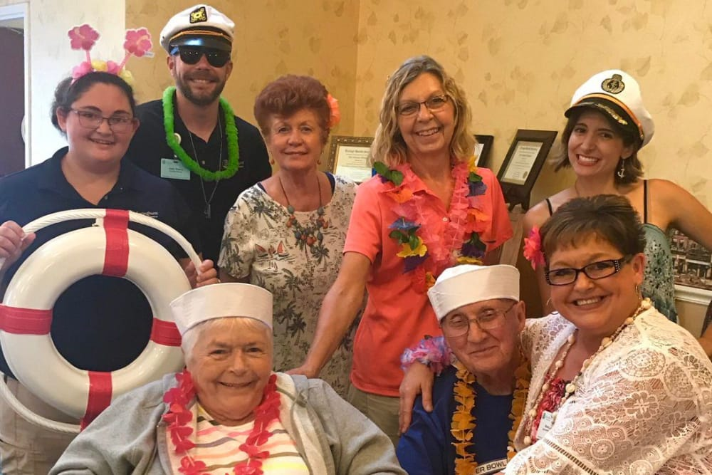 Residents and caretakers dressed up for a party at Springhurst Health Campus in Greenfield, Indiana