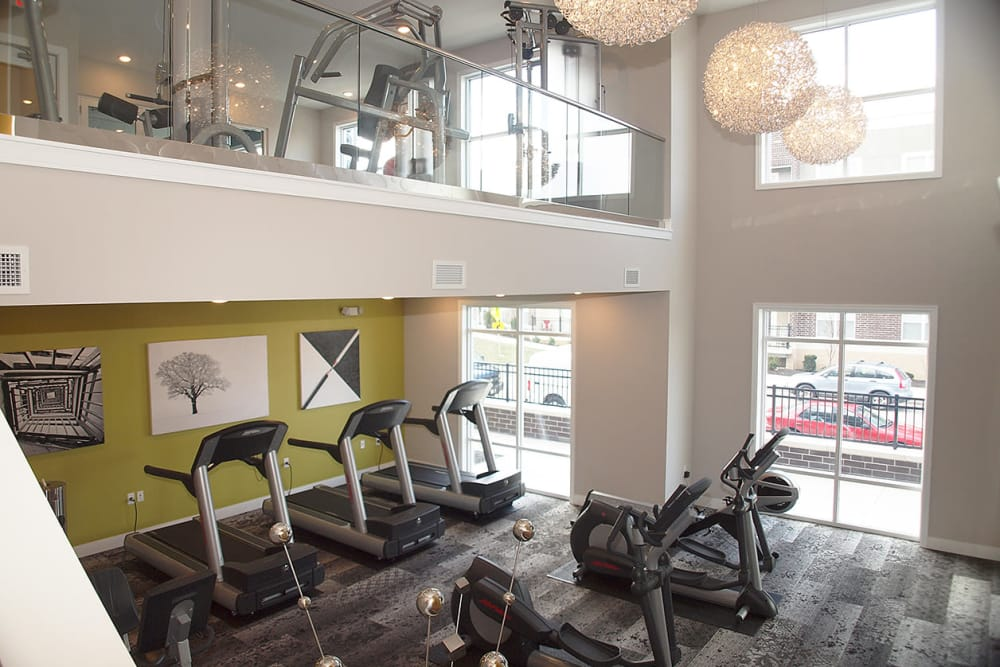 Luxury fitness center at Element Oakwood in Dayton, Ohio