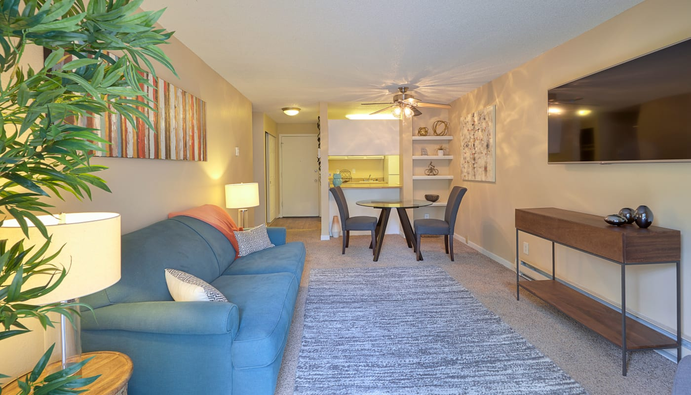 Modern living room at The Boulevard at South Station Apartment Homes in Tukwila, WA