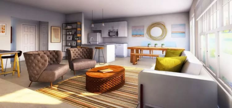 Cozy living room at Woodland Acres Townhomes in Liverpool, NY