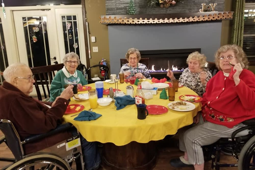 Residents gathered for a meal at The Landings of Kaukauna in Kaukauna, Wisconsin