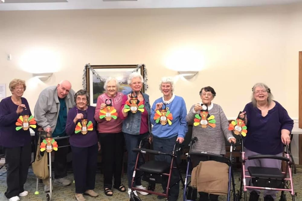 Residents with paper turkeys for Thanksgiving at Tanglewood Trace in Mishawaka, Indiana