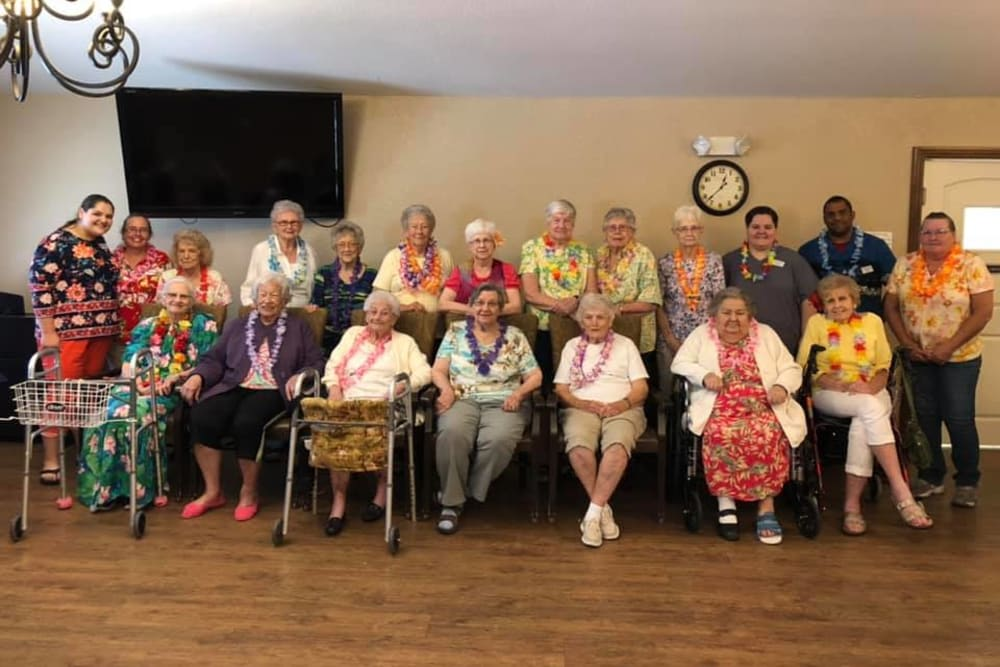 A large group of residents gathered for a photo at Villas of Holly Brook Effingham in Effingham, Illinois