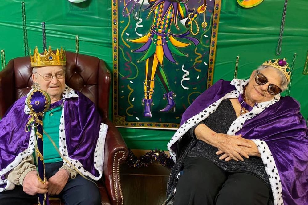 Residents dressed up as royalty at Rosewood Assisted Living in Lafayette, Louisiana