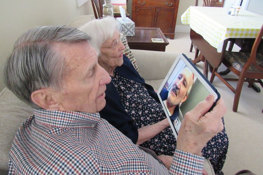 Residents facetiming at Aspired Living of Westmont