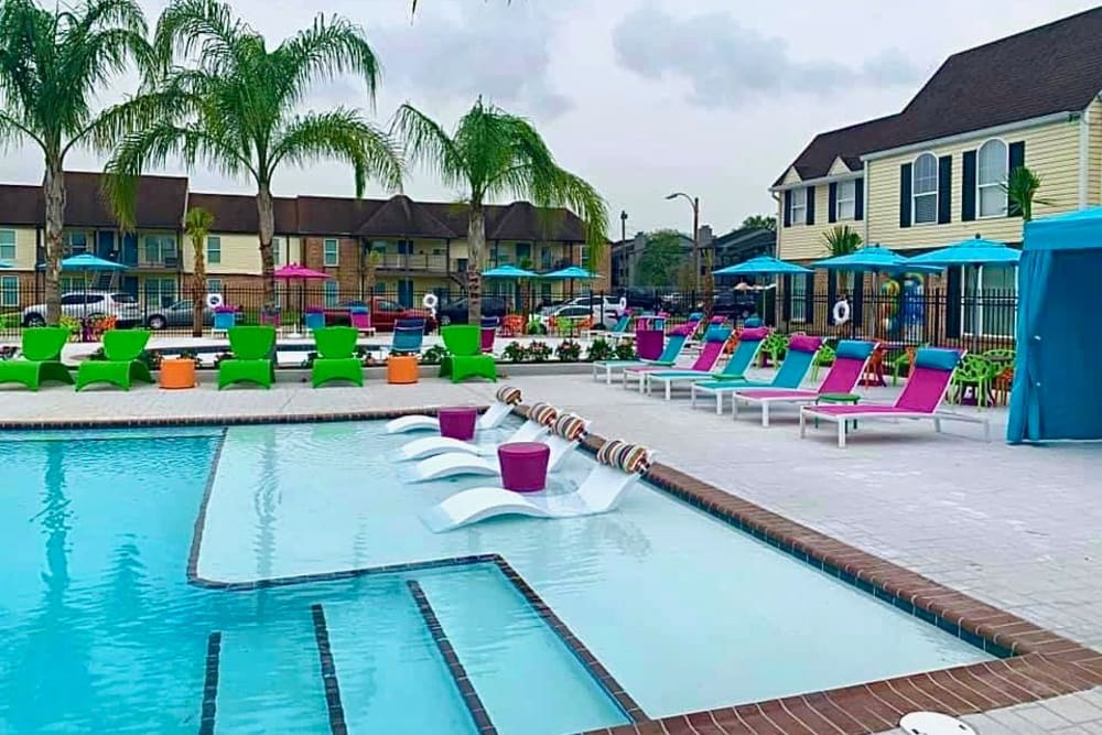 Resort-style swimming pool at The Mayfair Apartment Homes apartments for rent in New Orleans, LA