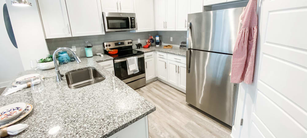 Kitchen area at South City Apartments in Summerville, South Carolina
