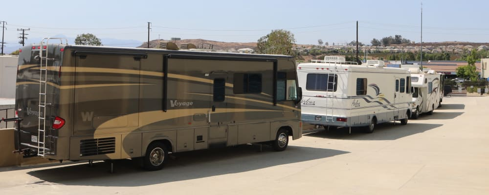 RV Parking and Travel Trailer storage at our facility on Golden Triangle in Santa Clarita