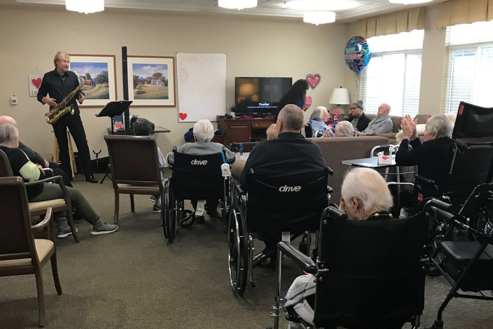 Residents listening to music at The Lakes at Banning in Banning, California.