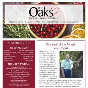 November The Oaks Gracious Retirement Living newsletter