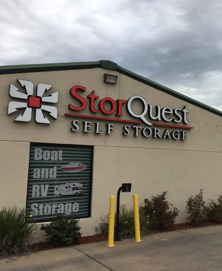 The exterior of the main entrance at StorQuest Self Storage in Richmond, Texas