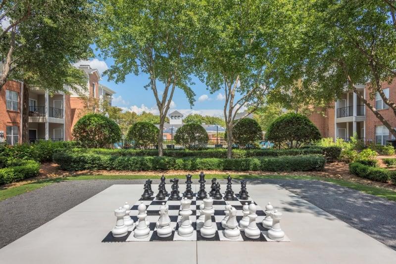 Outdoor jumbo chess at Presley Oaks in Charlotte, North Carolina
