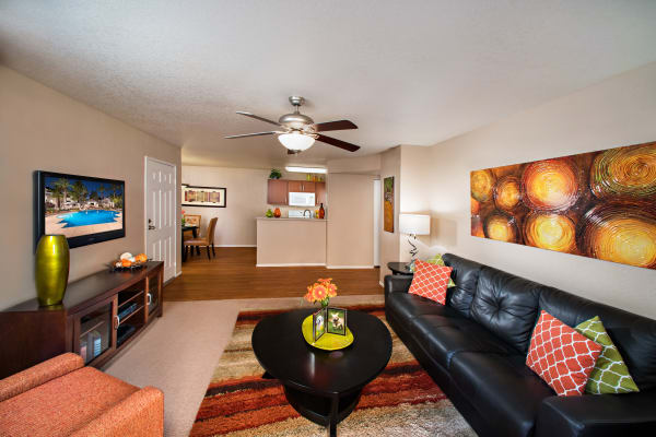 Spacious living room at The Palisades at Paradise Valley Mall in Phoenix, Arizona