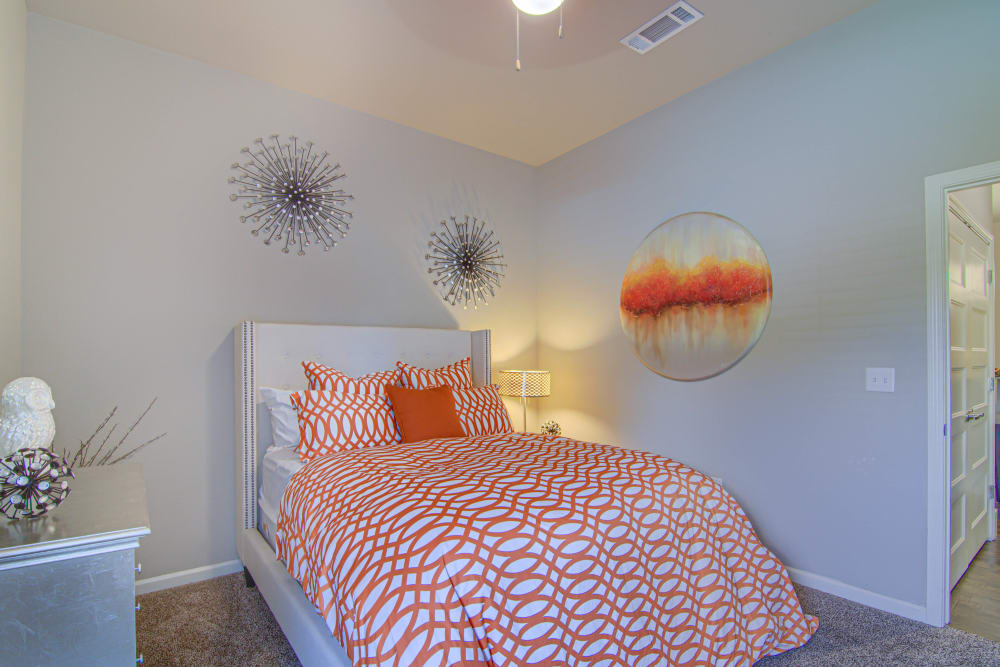 Large master bedroom with walk-in closet at Tradan Heights in Stillwater, Oklahoma