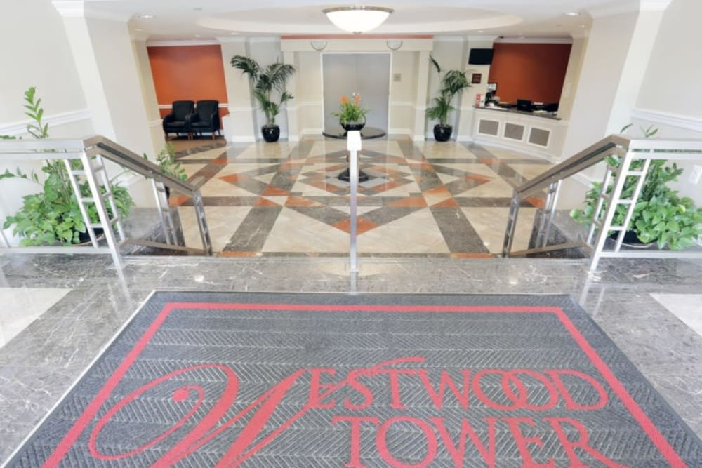 Welcoming front entrance to Westwood Tower Apartments in Bethesda, Maryland